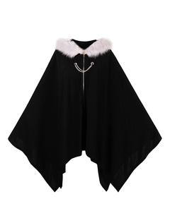 Black Women's Poncho Hooded Faux Fur Long Sleeve Cape Coat