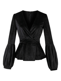 Black Women Blouses V Neck Puff Sleeve Velvet Top