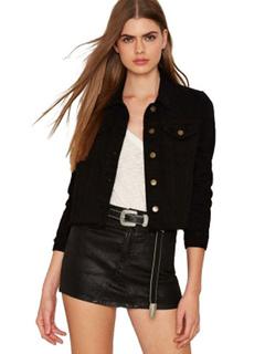 Black Short Jacket Long Sleeve Round Neck Embroidered Jackets For Women