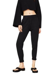 Black Cropped Pants Drawstring Skinny Leg Women's Jogger Pants