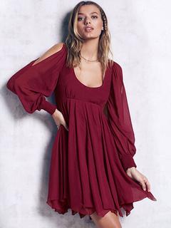 Chiffon Skater Dress Cold Shoulder U Neck Long Sleeve Semi Sheer Backless Pleated Flare Dress