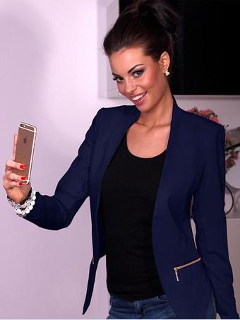 e5dd1904a35b Fabuleux blazer féminin mode en coton mélangé unicolore avec zip col  montant moulant