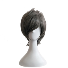 Carnival Grey Wigs Short Pixies And Boycuts Tousled Microfiber Women's Granny Hair Wigs