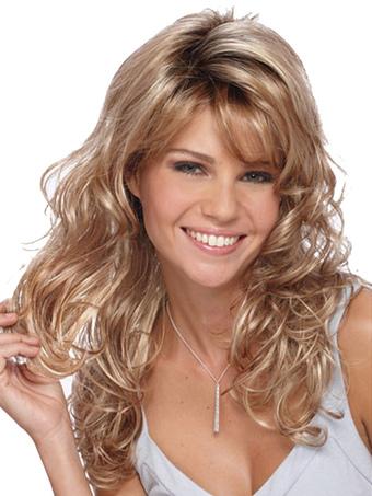 Blonde Long Wigs Corkscrew Curls Tousled Synthetic Wigs For Women