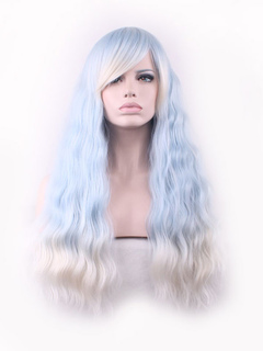Carnival Synthetic Wigs Crimp Curls Highlighting Light Sky Blue Long Hair Wigs With Side Swept Bangs