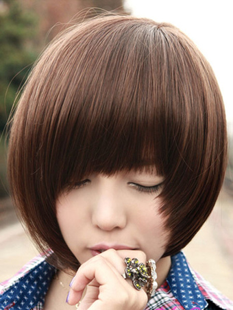 Women's Short Wigs Layered Pixies And Boycuts Deep Brown Synthetic Wigs With Bangs