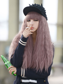 Women's Carnival Wigs Crimp Curls Cameo Pink Tousled Long Wigs With Blunt Bangs