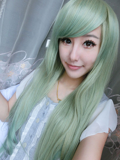 Green Carnival Wigs Layered Side Swept Bangs Long Straight Synthetic Wigs