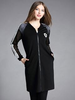 Black Varsity Jacket Round Neck Striped Women's Long Jackets