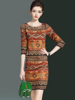 Elegant Skirt Set Geometric Print Round Neck 3/4 Length Sleeve Orange Top With Midi Wrap Skirt