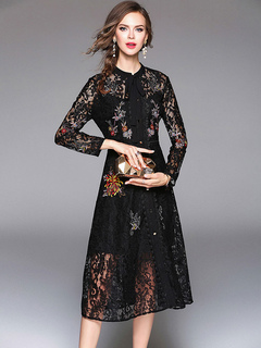 Black Lace Dress Women's Embellished Collar Floral Embroidered Slim Fit Skater Dress