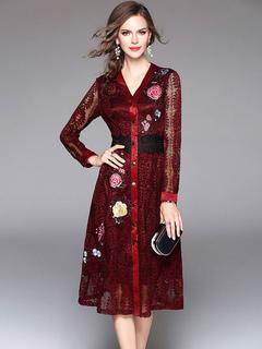 Burgundy Lace Dress V Neck Long Sleeve Embroidered Slim Fit Skater Dress