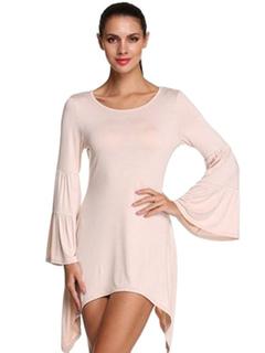 Apricot T Shirt Dress Round Neck Flare Sleeve Irregular Design Women's Casual Dress