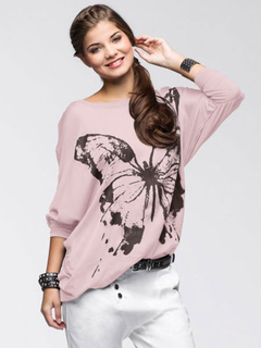 Pink Pullover Sweatshirt Round Neck Long Sleeve Butterfly Print Top For Women