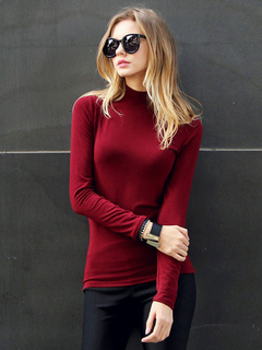 Burgundy T Shirt High Collar Long Sleeve Shaping Top For Women