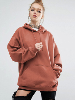 Orange Pullover Hoodie Hooded Long Sleeve Sweatshirt For Women