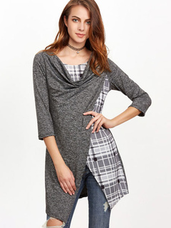 Grey T Shirt Cowl Neck Long Sleeve Tartan Check Print Fake Two-Piece Style Asymmetrical Top For Women