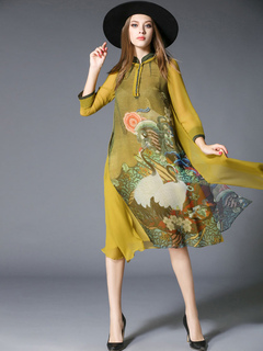 Silk Shift Dress Stand Collar 3/4 Length Sleeve Print Buttons Decor Slit Layered Yellow Chinese Style Dress