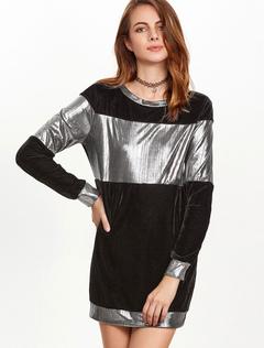 Velour Mini Dress Round Neck Long Sleeve Two Tone Women's Black Shift Dress