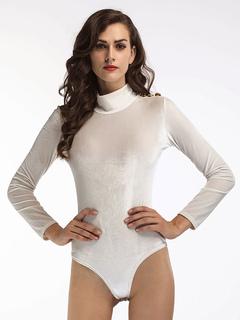 White Women's Bodysuit High Collar Long Sleeve Velour Shaping Bodysuits