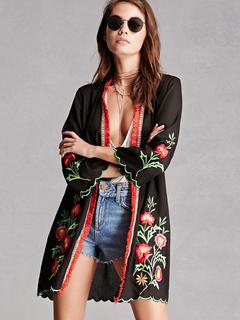 Black Boho Kimonos Long Sleeve Embroidered Fringe Women's Cover Up