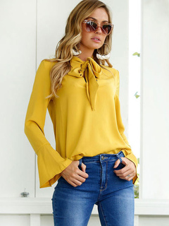 Yellow Chiffon Blouses Bell Sleeve Bows Sexy Top For Women
