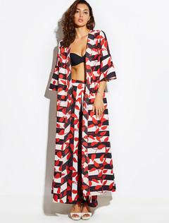 Women Kimono Dress Boho Chiffon Leaf Print Orange Red Long Kimono Jacket