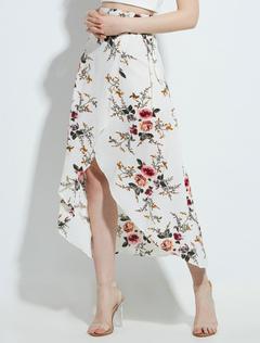White Long Skirt Women Boho Chiffon Floral Print High Low Skirts