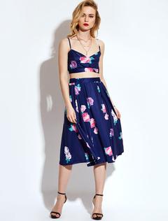 Women Skirts Set Boho Deep Blue Straps Sleeveless Floral Print Crop Top With Long Skirt