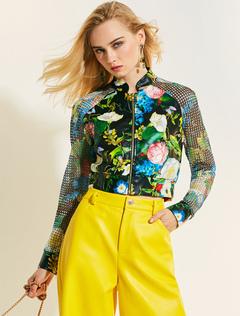Black Short Jacket Long Sleeve Stand Collar Floral Print Women Spring Jacket