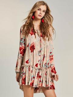 Women Boho Dress V Neck Long Sleeve Ruffle Floral Print Pink Spring Bohemian Dress