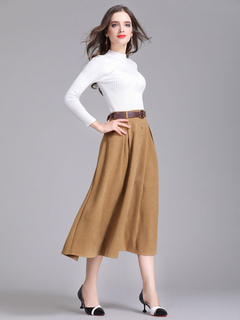 Suede Khaki Skirt Buttons Decor Pleated Women's Flare Dress With Belt
