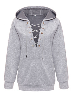 Grey Pullover Hoodie Hooded Lace Up Long Sleeve Sweatshirt For Women