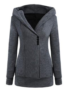 Women's Hoodie Jacket Long Sleeve Hooded Deep Grey Sweatshirt
