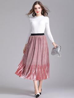 Pink Velour Skirt Ombre Pleated Women's Skater Skirt