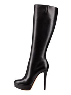 High Heel Boots Wide Calf Boots Black Leather Platform Women Boots 2063235cad