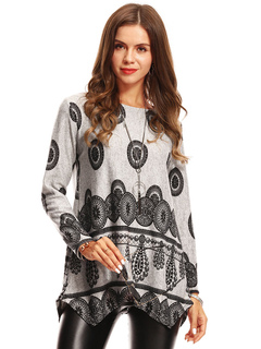 Grey T Shirt Round Neck Long Sleeve Printed Split Top For Women