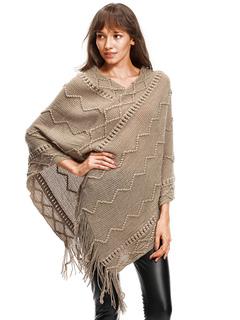 Khaki Knit Poncho V Neck Long Sleeve Fringe Oversized Cape Coat For Women