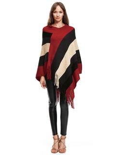 Burgundy Knit Poncho V Neck Long Sleeve Fringe Striped Women's Cape Coat