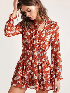 Chiffon Skater Dress Floral Print Designed Neckline Long Sleeve Pleated Layered Orange Mini Dress