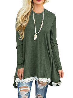 Women's T Shirt Lace Round Neck Long Sleeve Two Tone Hunter Green Top