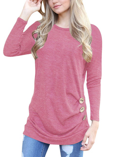Pink T Shirt Round Neck Long Sleeve Shaping Top For Women