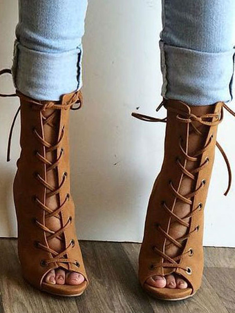 Sandali stivali marroni nubuck a punta aperta tacco a fino 11cm taglia  forte casuale 245bfb95235