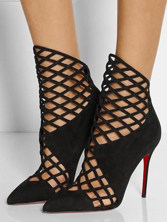 Zapatos de puntera puntiaguada estilo street wear negra Verano estilo moderno de tacón de stiletto de encaje sBoiK
