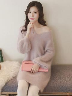 Women's Sweater Dress Soft Pink V Neck Puff Sleeve Midi Dress