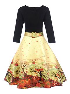 Women Vintage Dresses 1950s V Neck Long Sleeve Printed A Line Swing Dress