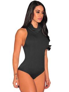 Black Sexy Bodysuit High Collar Sleeveless Knit Wear For Women