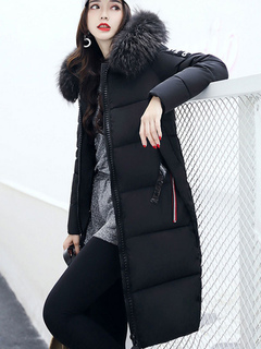 Black Quilted Jacket Faux Fur Hooded Long Sleeve Winter Coat For Women