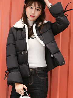 Black Quilted Jacket Long Sleeve Notch Collar Two Tone Winter Coat For Women