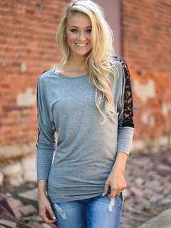 Grey T Shirt Lace Patchwork Long Sleeve Round Neck Slim Fit Top For Women